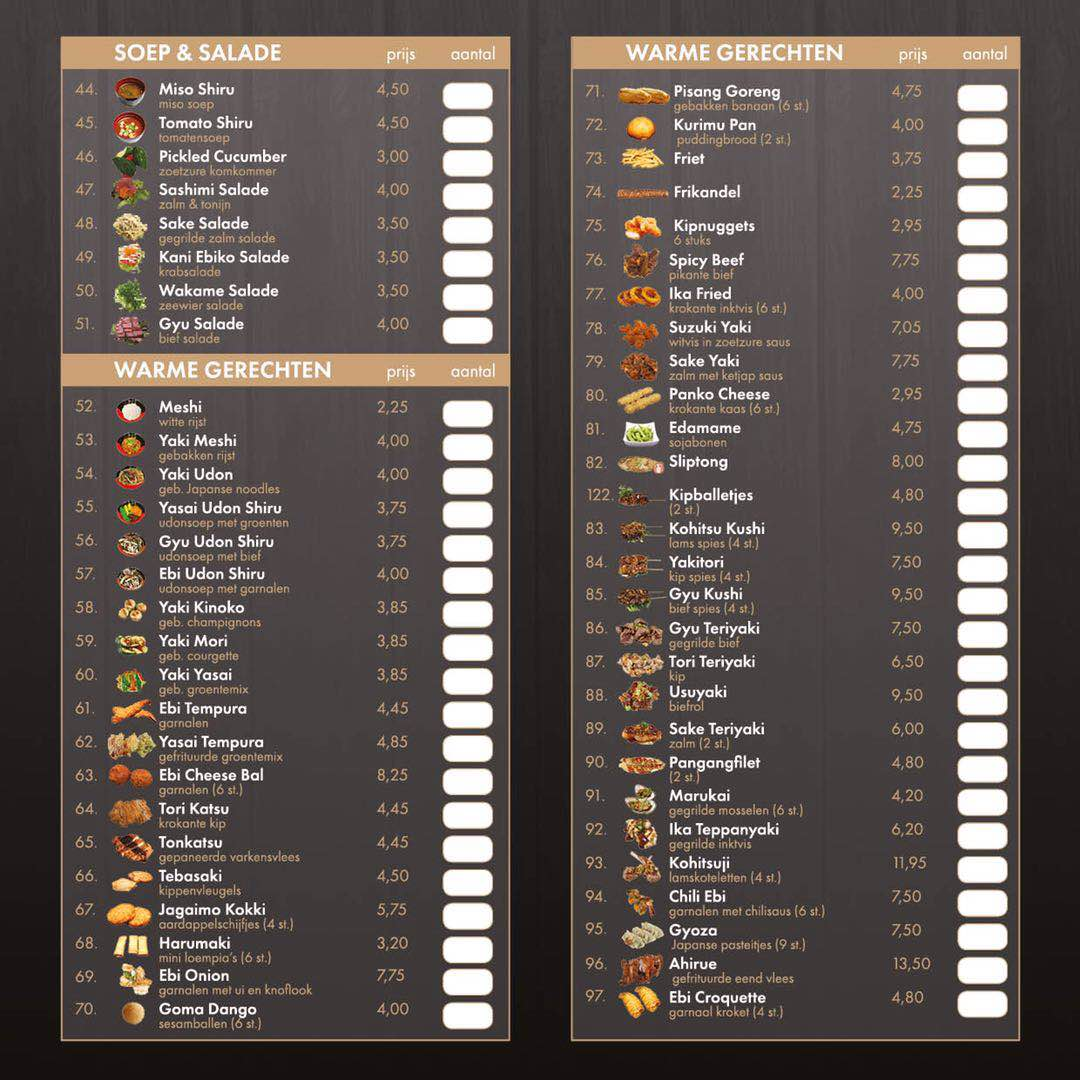 shinsenrestaurant afhaal menu kaart ak 2019