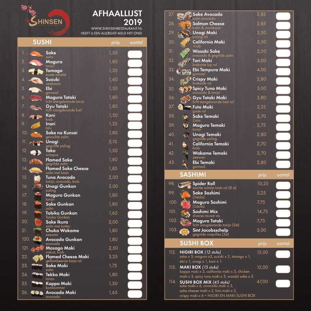 shinsenrestaurant afhaal menu kaart vk 2019